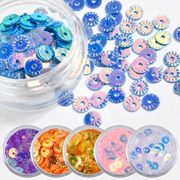 wholesale glitter pots Canada - 6 Pots Glitter Colorful Hollow Round Nail Art Sequins 3D Sticker DIY Decoration