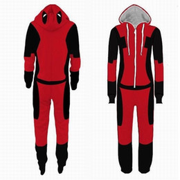 Wholesale deadpool halloween costume online – ideas Adult Superhero Pijama Deadpool Costumes Man Pajamas Women Jumpsuits Cosplay Halloween Costumes for Women Christmas Party OutfitMX190921