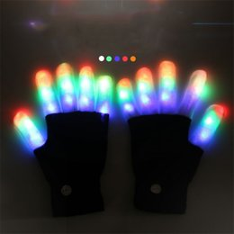 Girl's Accessories Led Rave Flashing Glove 1 Piece Glow 7 Mode Light Up Finger Tip Lighting Black Vd New Hot Glove
