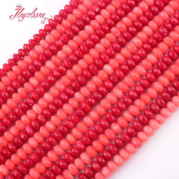 """Coral Beads Making Australia - 4x6mm Faceted Rondelle Coral Beads Natural Stone Beads For DIY Necklace Bracelets Eaaring Jewelry Making Loose 15"""" Free Shipping"""