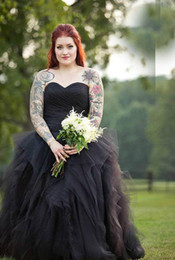 $enCountryForm.capitalKeyWord Australia - Black Gothic Off Shoulder Pleats Ruched Plus Size Country Wedding Dresses Sweetheart Sleeveless Long Wedding Dress Robe De Mariage