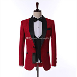 Latest Design Side Vent One Button Red Paisley Groom Tuxedos Shawl Lapel Groomsmen Mens Wedding Party Suits (Jacket+Pants+Vest+Tie) K19