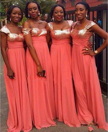54d8dbd98d91 2019 Coral Chiffon Long Bridesmaid Dresses with Rose Gold Sequins Plus Size Formal  Dress Lace Up Prom Gowns