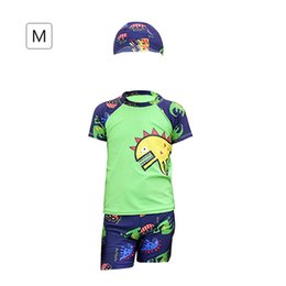 Sports Clothing Kids Boy Swimwear Two Pieces And Swimming Cap Short Sleeves Shirt And Trunks Kinder Children Beach Shorts Bathing Suits 2018 Superior Materials Children Sportswear & Accessories