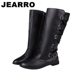 Shoes Knee High Straps Australia - JEARRO Women Winter Long Boots With Straps Martin Boots Woman Knee-High Square Heel Shoes Size 37-41