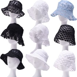 wholesale flower buckets Canada - Lace Floral Fisherman Hat Women INS Summer Bucket Hat Hollow Out Flowers Sun Hats Sunshade Breathable Caps LJJO7916