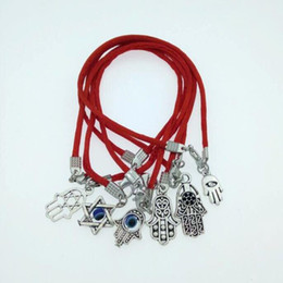 $enCountryForm.capitalKeyWord UK - Fashion Kabbalah Hamsa Hand Charm Bracelets Handcrafted Lucky Red String Rope Bangles Adjustable Bracelet Woman Man Jewelry Gift 16cm -22cm