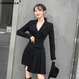 $enCountryForm.capitalKeyWord Australia - Hot Women's Formal Office Business Work Jacket Skirt Suit Set Vintage Black Mini Pleated Skirt & Blazer Two Pieces Sets