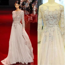 EliE saab prom drEssEs nEw online shopping - Elie Saab New Evening Dresses Bling Bling Bateau Neck Prom Gowns Floor Length Beads Crystal Red Carpet Special Occasion Dress