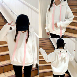 Sweatshirts Blue Australia - Sweet Cute College Wind Loose Hoodies Women Harajuku Rabbit Ears Embroidery Pink White Blue Sweatshirt