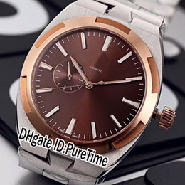 Browning Gold Australia - New Overseas 2300V Two Tone Rose Gold Brown Dial Miyota 9100 Automatic Mens Watch Stainless Steel Sapphire Watches Cheap Puretime E03c3