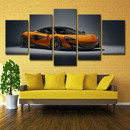 painting racing Australia - 5 Panel Cool Race Car Canvas Painting Living Room Wall Art Modular Picture House Decoration McLaren (No Frame)