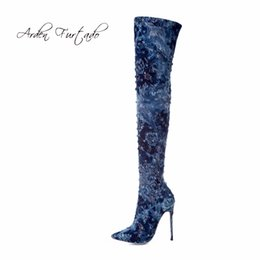Open tOe bOOts stilettO online shopping - 2019 blue denim jeans boots over the knee high stilettos boots shoes for woman sexy high heels cm fashion shoes women