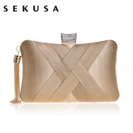 small silver clutch evening bag NZ - SEKUSA Tassel Fashion Ladies Day Clutch Bag Small Shoulder Handbags Female Party Wedding Evening Bag For Women Phone Purse Y190619