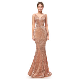 prom dresses fabric NZ - 2019 Sexy Hot Luxury Beading Evening Dresses with Sequin Fabric Zipper Back Bling Bling Celebrity Red Carpet Dress V Neck Prom Dress 5256