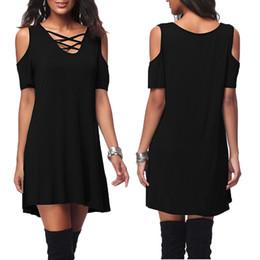 $enCountryForm.capitalKeyWord Australia - Women T -shirt Dress V -cut Summer Clothes Casual Elegance Sexy Dress Short Dress Plus Size Bodycon Boho Hole 6xl Black Y19071001