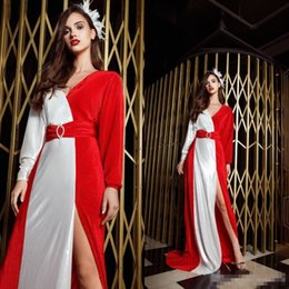 $enCountryForm.capitalKeyWord Australia - 2019 White And Red Side Split Prom Dresses V Neck Satin A Line Long Sleeve Cheap Evening Gowns Sweep Train Formal Party Dress