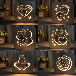 Valentine Heart Lights Australia - Wood LED Night Lighting 3D Visual Lamp Lover Heart Decor Nightlight I LOVE YOU USB Table Desk Lamp Bedroom LED Valentines Gift