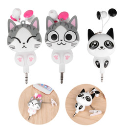 Discount retractable wire - Earphone Cheese Cat Cartoon Automatic Retractable Mobile Phone Cute Cartoon Sport In-Ear Auriculares