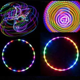 Vente en gros LED Hoops coloré Fitness Circle Amovible Performing abdominale Fat Loss Fitness léger Crossfit Equipements Massage Hoop Sport