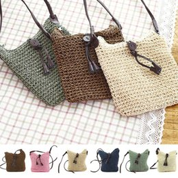 Wholesale Womens Straw Beach Shoulder Bags Fashion Travel Crossbody Hand Made Woven Tassel Handbags Lady Vacation Casual Bags TTA558