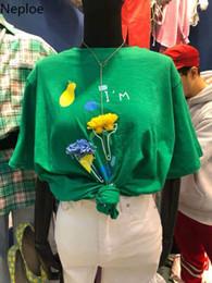 $enCountryForm.capitalKeyWord Australia - Neploe Letters Printed T Shirts 3D Flower Korean O-neck T-shirt 2019 Summer Short Sleeve Women Shirts High Quality Top Tee 52938