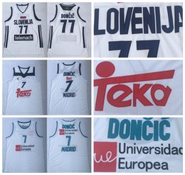 Wholesale Real Madrid Luka Doncic Jerseys Basketball Uniform Team Club MVP Euroleague Spain Europe Slovenija White Color Men Stitched Good