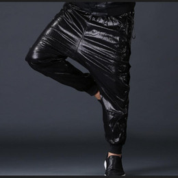 Leather Side coulisse Moda Uomo jogging PU Faux Harem dei jeans casual Street Dance Moto Biker DJ rock Pantaloni Pantaloni