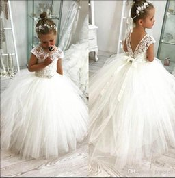 purple princess dresses for toddlers NZ - 2019 Princess White Flower Girl Dresses For Western Garden Weddings Sheer Cap Sleeve Applique Toddler Kids Birthday Communion Gowns