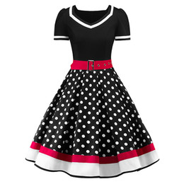 black belt shorts UK - S-2XL Polka Dot Print Vintage Dress Women Summer V-Neck Sleeveless A-lined Dress Sweetheart Pin Up 50s Party Dresses Belt