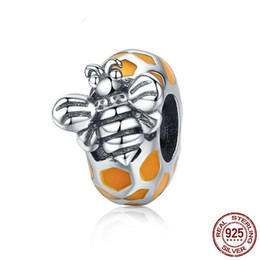 Sterling oval bangle online shopping - Pandora Style Authentic Sterling Silver Honeycomb Bee Spacer Beads fit Women Bracelets Bangles DIY Jewelry Making