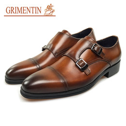 grimentin shoes UK - GRIMENTIN 2020 New hot sale brand shoes genuine men leather shoes brown high quality Italian double monk men dress shoes
