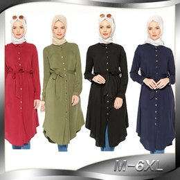 3aa85146af168 Women Tops Shirt Dress Blouse Muslim 6XL Abaya Robe Loose Style Tunic  Jilbab Plus Size Ramadan Malaysia Caftan Islamic Clothing New J190101