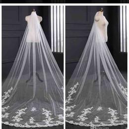 Veil white long online shopping - 2019 Elegant Long Tulle Lace Applique Wedding Veils Bridal Veils Matching The Wedding Dresses