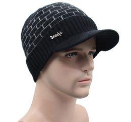 Discount balaclava knitting - Fashion Adult Winter Hat For Women Men Skullies Cap With Brim Knitted Visor Beanies Balaclava Bonnet Mask Warmer