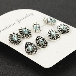 $enCountryForm.capitalKeyWord Australia - Fashion Simple Jewelry Bohemian Flower Diamond Geometric Openwork Sapphire Crystal Four Piece Stud Earring Set Party Gifts