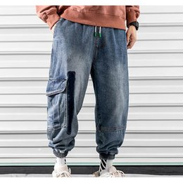 tall plus size pants Canada - Men's Hip hop Athletic Jeans Cargo Pants Men Elastic Loose Big & Tall Relaxed Fit Denim Pants