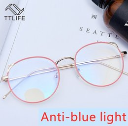 Discount proof sunglasses TTLIFE Anti-Blue Sunglasses Women Female Version of Tide Retro Round Face Frame Explosion-Proof Sun Glasses Eye Strain W