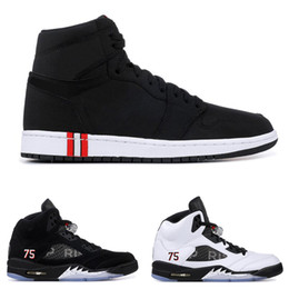 China With box 1s 5s PSG mens basketball shoes for men PARIS SAINT GERMAIN Black white with 3M fashion mens sports sneakers on sale cheap sneaker shoes sale suppliers