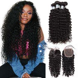 $enCountryForm.capitalKeyWord NZ - Malaysian Deep Wave Curly Bundles With Closure Virgin Hair Extension Malaysian Human Hair 3 Bundles With Lace Closure