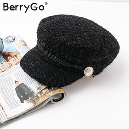 BerryGo Hot stamping visor military cap women hat Autumn winter cotton  fashion ladies cap Vintage England style flat 2018  17151 e8f53bd4850