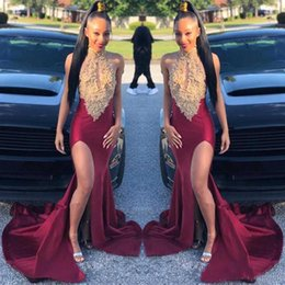 Hourglass dresses online shopping - 2019 Black Girls Halter Mermaid Long Prom Dresses Gold Lace Applique Split Sweep Train Party Evening Gowns robe de soiree