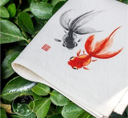 Small Cotton Handkerchief Australia - Hand Painting Cute Fish Cotton Handkerchief Gift Chinese style Women Fashion Accessories Thicken Natural Linen Small kerchief