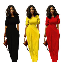 $enCountryForm.capitalKeyWord UK - Women Maxi Dress Summer long skirts with pocket casual sexy party dress 1 2 sleeve floor-length skirts streetwear lady clothes black yellow