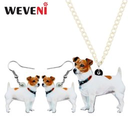 $enCountryForm.capitalKeyWord Australia - WEVENI Acrylic Anime Jack Russell Dog Necklace Earrings Jewelry Sets Sweet Pets Fashion Teens Girl Charms Party Gift Accessories