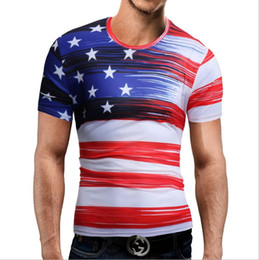 round t man model 2019 - Explosion models 2019 men's foreign trade men's round neck T-shirt new 3D printed flag short-sleeved T-shirt 3