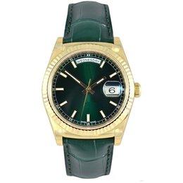 Ingrosso New Green Mens Watch Sweep Automatic Movimento meccanico verde pelle Data oro Sapphire Original Catenaccio da uomo Orologi spedizione gratuita