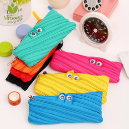 kawaii pens NZ - Cute 1pc Creative Zipper Eye Pencil Case For School Supplies Stationery Girls Boys Cartoon Pen Bag Kawaii Multifunction Box Gift
