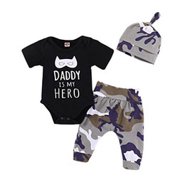 China Ins newborn baby boy clothes Summer Baby Suit Newborn Outfits Boys Clothing Sets 3pcs baby romper+hat+ Harem Pants Boys Suits A5289 supplier boy woolen hats suppliers
