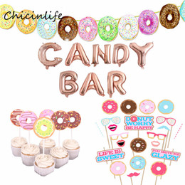 Bar Balloons Australia - Chicinlife Donuts Balloon photo booth Props Doughnut Bunting Banner Candy Bar Party Decoration Wedding Birthday Party Supplies